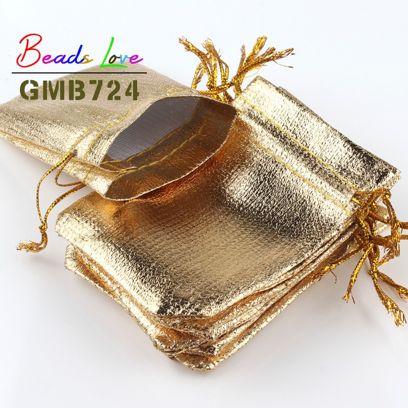 50Pcs/lot 7x9cm 9x12cm Gold Fabric Bags Organza Jewelry Packaging Drawstring Velvet Gift Bags & Wedding Favor Pouches Jewellery