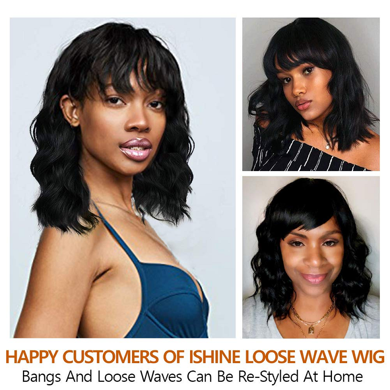 Short Human Hair Wigs Brazilian Virgin Loose Wave Bob Wigs With Bangs Silk Base Headspin Wig Pre Plucked For Women 250% Density
