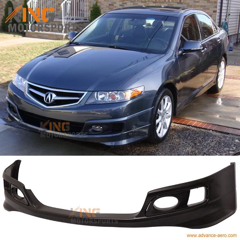 Fit For 2006 2007 2008 <font><b>Acura</b></font> <font><b>TSX</b></font> OE Factory Style Front <font><b>Bumper</b></font> Lip Spoiler Unpainted Black- Urethane PU image