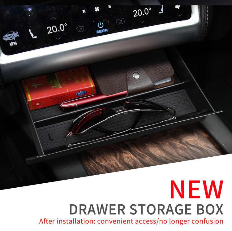 BAFIRE Black Car Center Console Storage Box For Tesla Model X/S 2012-2019 Drawer Tray Cubby For Tesla Storage Box