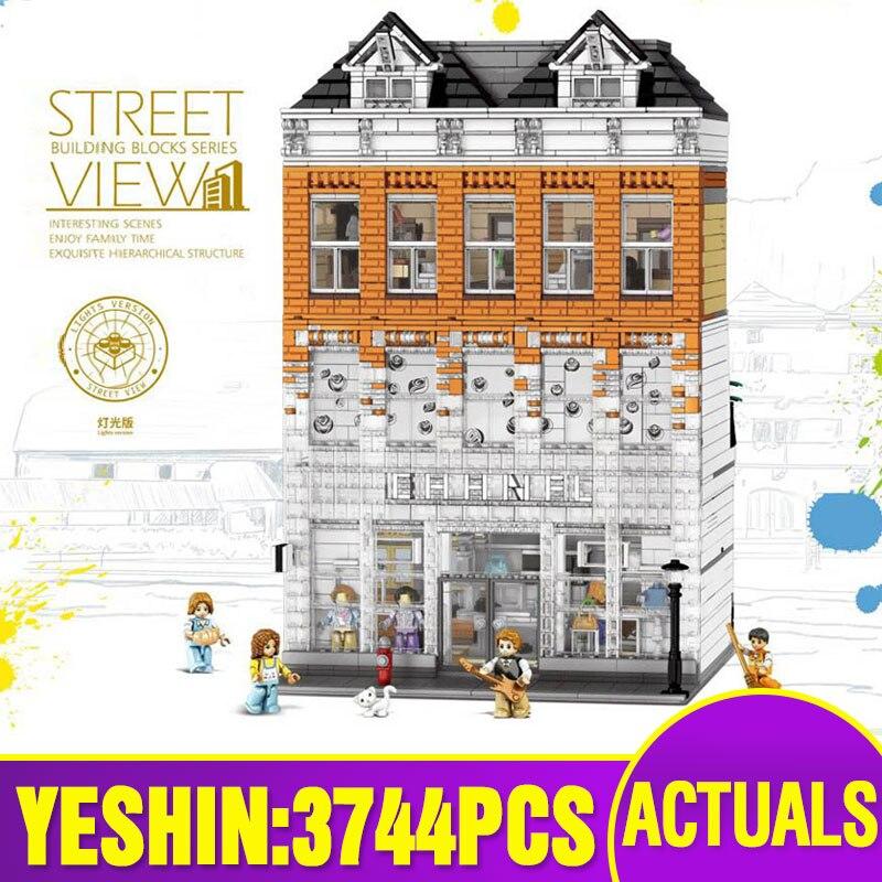 Dhl yeshin 15001 streetview edifício a casa de cristal compatível com lepining blocos de construção tijolos crianças brinquedos natal presentes