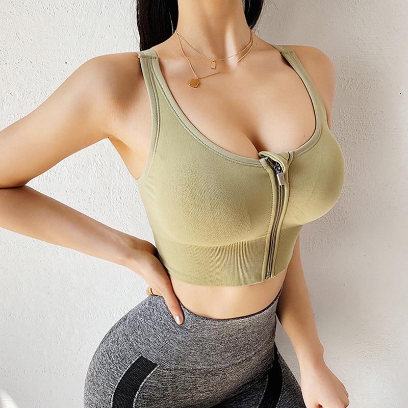 Healorange Women Zipper Push Up Sports Bras Vest Underwear Shockproof Breathable Gym Fitness Athletic Running Yoga Bh Sport Tops
