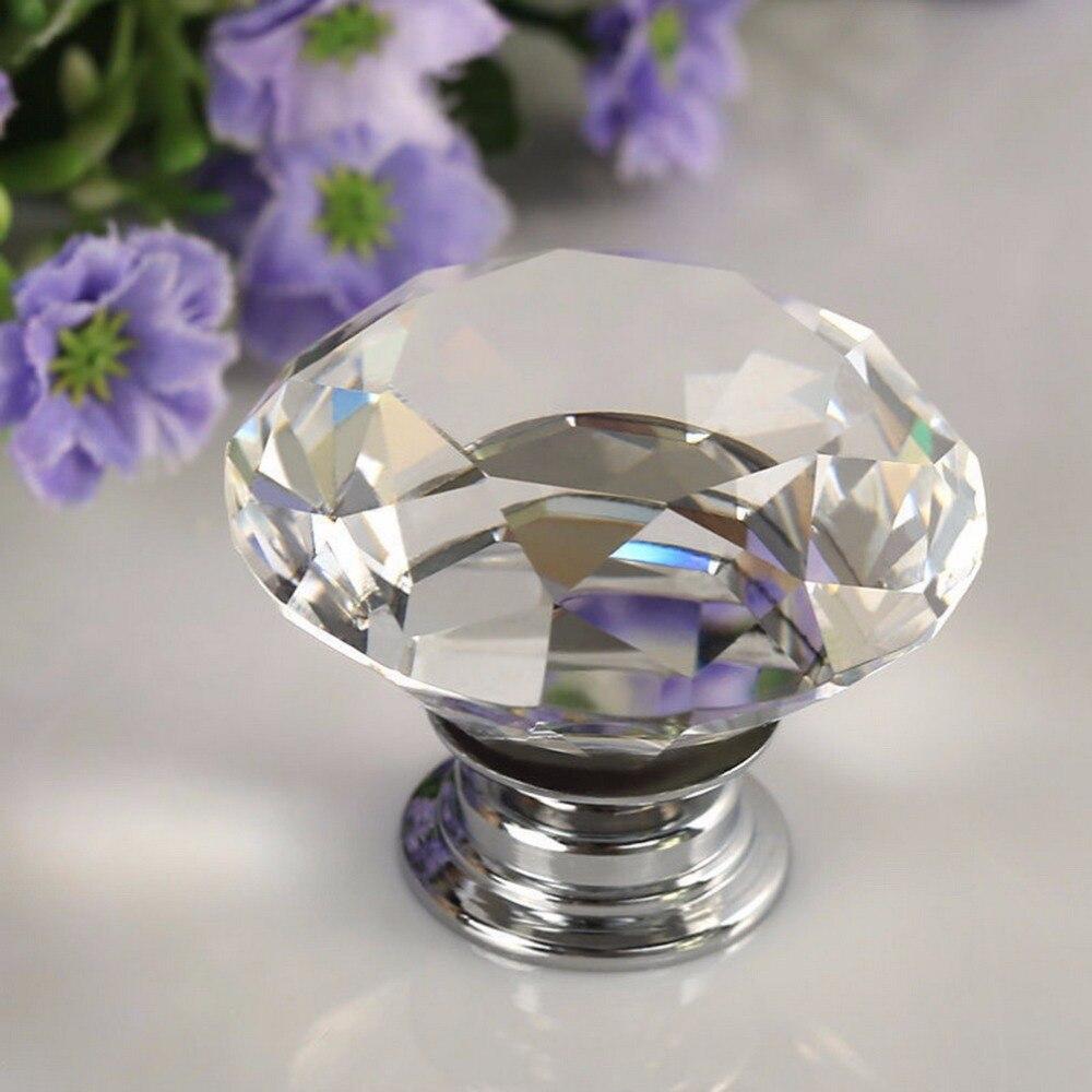 1pcs 30mm Diamond Crystal Glass Alloy Door Drawer Manual Handle Bar Cabinet Wardrobe Pull Handle Knobs Light Weight