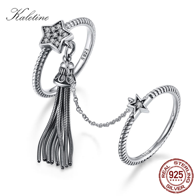 KALETINE Tassel Ring 925 Sterling Silver Rings For Women Two Stars Ring With Link Chain Crystal Stack Vintage Bohemian Jewelry