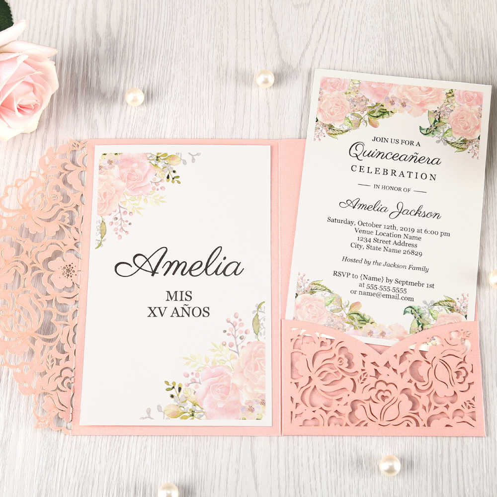 100pcs Red Laser Cut Floral Invitation Cards For Wedding Party Quinceanera Anniversary Birthday Cw0008
