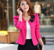 New 2016 Women Suit Jacket Slim Elegant Double Breasted Blazer Short Design Plus Size Career Skirt Work Wear