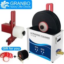 Granbo 6.5l 180w gravador de vinil, limpador ultrassônico cinco cores liga de alumínio lata de suporte para lp álbum ep discos limpeza de limpeza