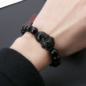 Feng Shui Obsidian Stone Beads Bracelet Men Women Unisex Wristband Gold Black Pixiu Wealth and Good Luck  Women Bracelet 5
