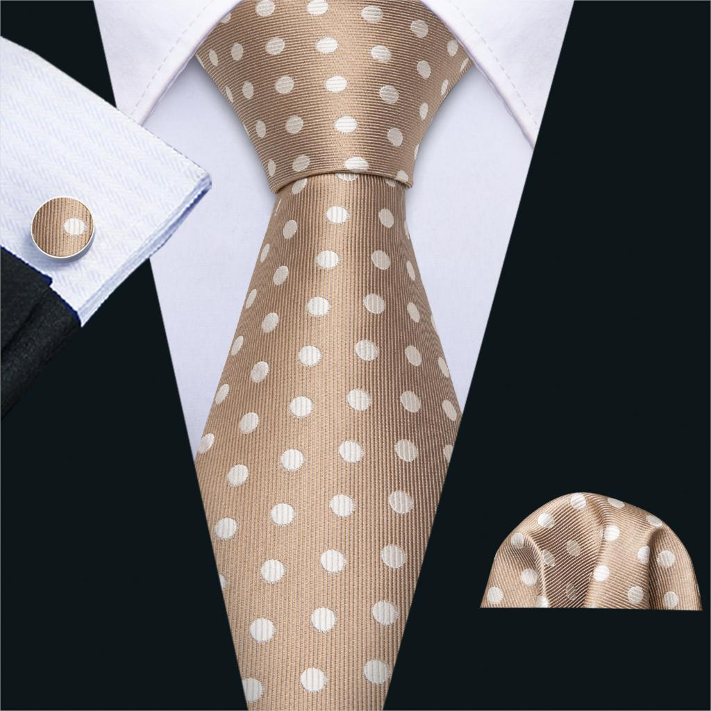 Brown Mens Wedding Tie Dot Silk Tie Hanky Set Barry.Wang Jacquard Woven Fashion Designer Neck Ties For Men Gifts Party FA-5196