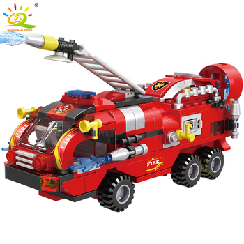 HUIQIBAO 387pcs 6in1 Fire Fighting Trucks Car Helicopter Boat Building Blocks City Firefighter Firemen Figures Bricks Toys Child 4
