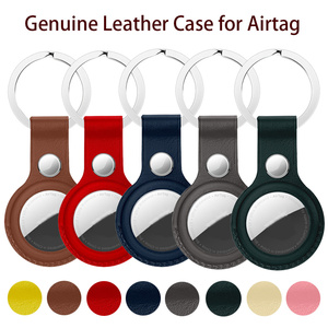 Image 1 - High quality Leather Case For Apple Airtags Protective cover For Apple Locator Tracker Anti lost Device Keychain Protect Sleeve