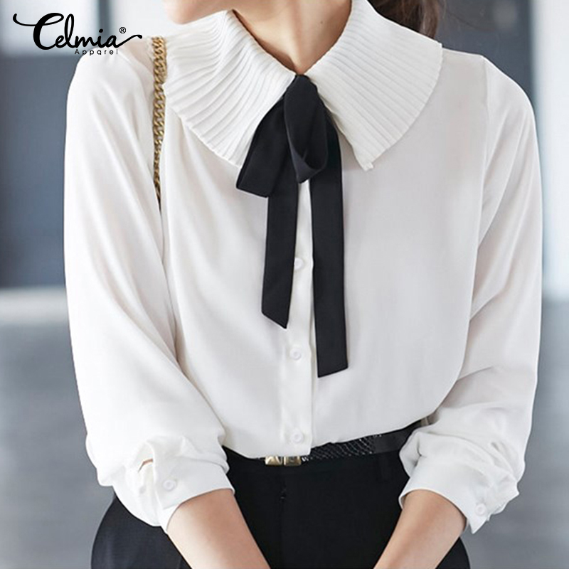Elegant OL Office Ladies Tops Celmia Women Fashion Bow Tie White Blouse Long Sleeve Lapel Ruffles Shirts Buttons Casual Blusas 7