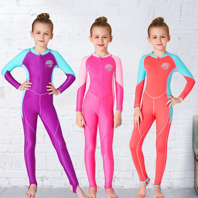 Hisea New Style KID'S Swimwear One-piece Full Body Sun-resistant UPF50 + Diving Suit Big Virgin Girls Waterproof Mother Suit