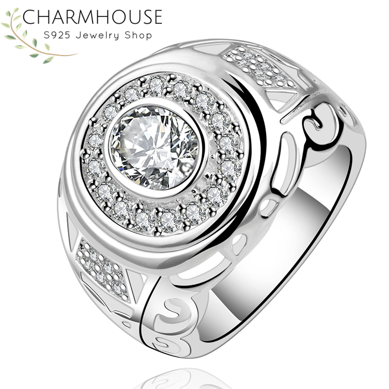 Pure Silver Rings For Lady Zirconia Round Finger Ring Wedding Band Anel Bague Anillo Anel Rhinestone Engagement Jewelry Bijoux