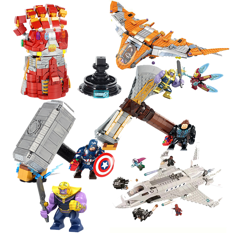 Avengers 4 Spider Man Stark Jet Drone Attack Hydro-Man Molten Infinity War Battle Thanos Iron Man Building Blocks Bricks Boy Toy