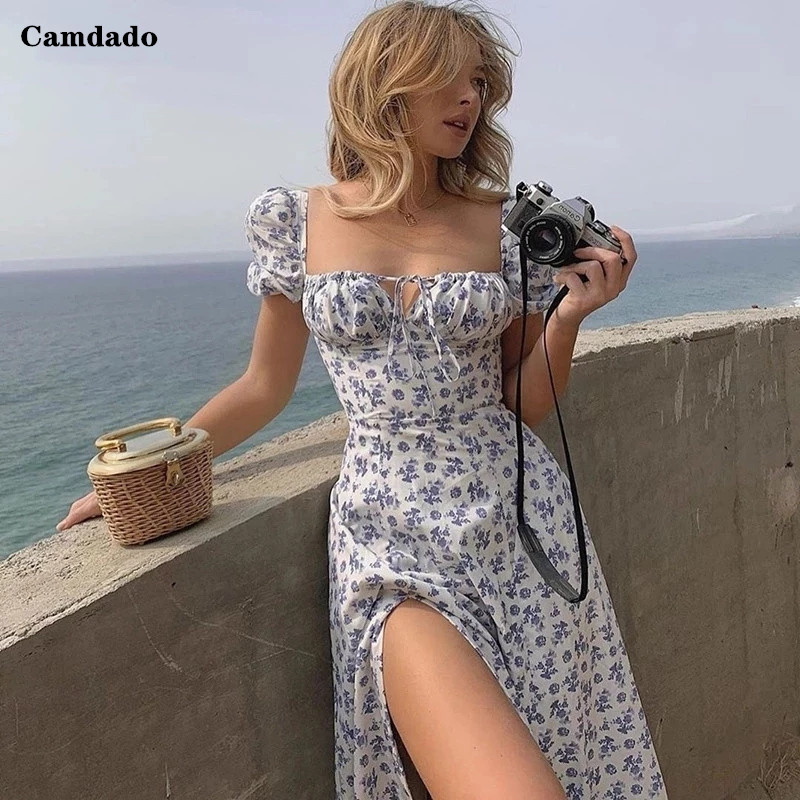 קיץ שמלת נשים קצר פאף שרוול Flroal מודפס Ruched המפלגה גבוהה פיצול ארוך מקסי שמלות שרוך סקסי Vestidos שמלה קיצית