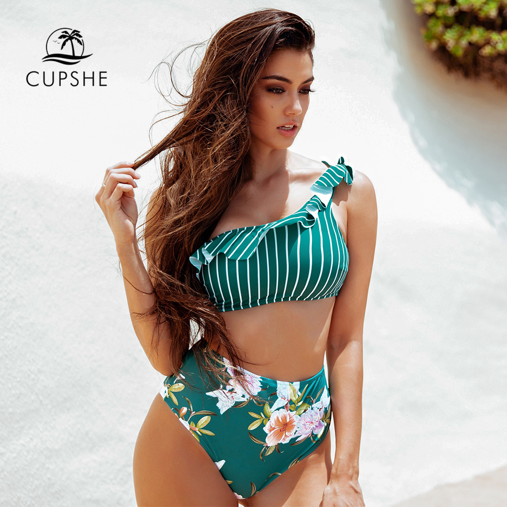 CUPSHE Stripe Floral Ruffles One Shoulder High-waist Bikini Sets Sexy Swimsuit Two Pieces Swimwear Women 2020 Beach Bathing Suit