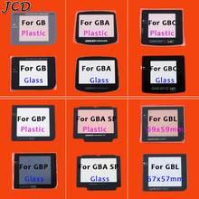 Lente de vidro plástica de jcd para gb/gba/gbc/gbp/gba sp/gbl lente de vidro da tela para o protetor da lente da cor de gameboy com/adhensiveparts