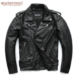Image 2 - MAPLESTEED Classical Motorcycle Jackets Men Leather Jacket 100% Natural Calf Skin Thick Moto Jacket Winter Sleeve 61 67cm M192