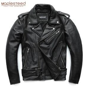 Image 2 - Maplesteed clássico motocicleta jaquetas jaqueta de couro masculino 100% natural pele de bezerro grosso moto jaqueta manga de inverno 61 67cm m192