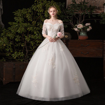 Mrs Win Wedding Dress 2021 Cheap Half Sleeve V-neck Lace Up Ball Gown Princess Classic Dresses Gowns C32 - discount item  33% OFF Wedding Dresses
