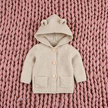 New Autumn Winter Sweaters Baby Boys Girls Cartoon Cardigan Ears Clothing Newborn Knitted Jackets Hooded Long Sleeve Baby Coat