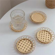Japanese Style Bamboo Rattan Coaster Woven Saucer Bamboo Handmade Tea Mat Cup Holder Pad Home Decor Serving Tray Kitchen Tools