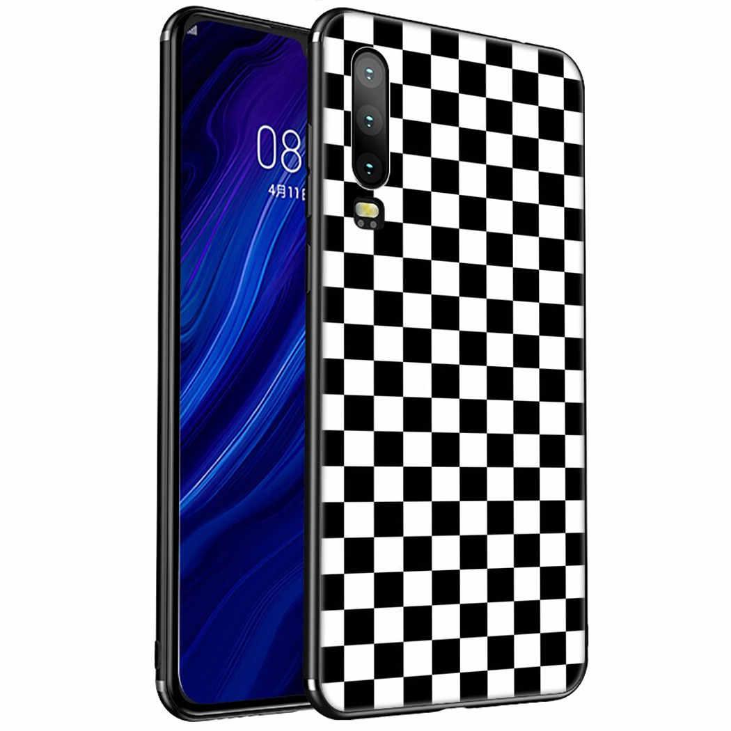 チェック柄市松アートソフトシリコンケース Huawei 社 1080p スマート Z プラス 2019 P30 P20 P10 Lite プロ電話カバー