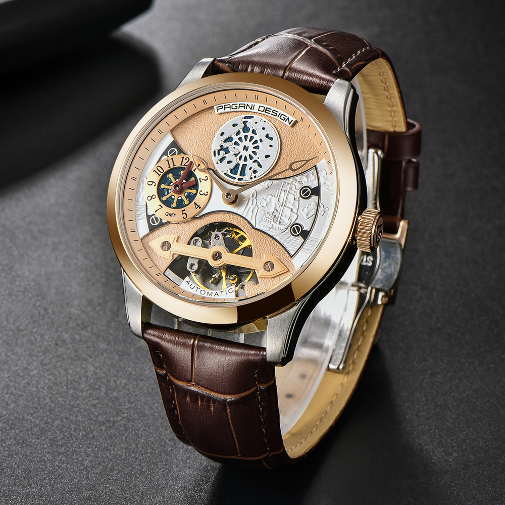 2020 free shipping New Fashion PAGANI Leather Tourbillon Watch Luxury Brand Automatic Men Watch Men Mechanical silver stainless Steel Watches Relogio Masculino (76)