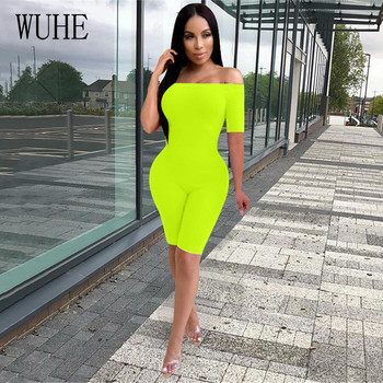 WUHE Sexy Women Short Jumpsuits Sleeve Off Shoulder Bodycon Playsuit Summer Party Bodysuit Strapless Romper Overalls