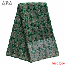 Anna nigerian lace fabric 2020 high quality embroidery french net lace african tulle fabrics 5 yards/piece for women party dress(China)