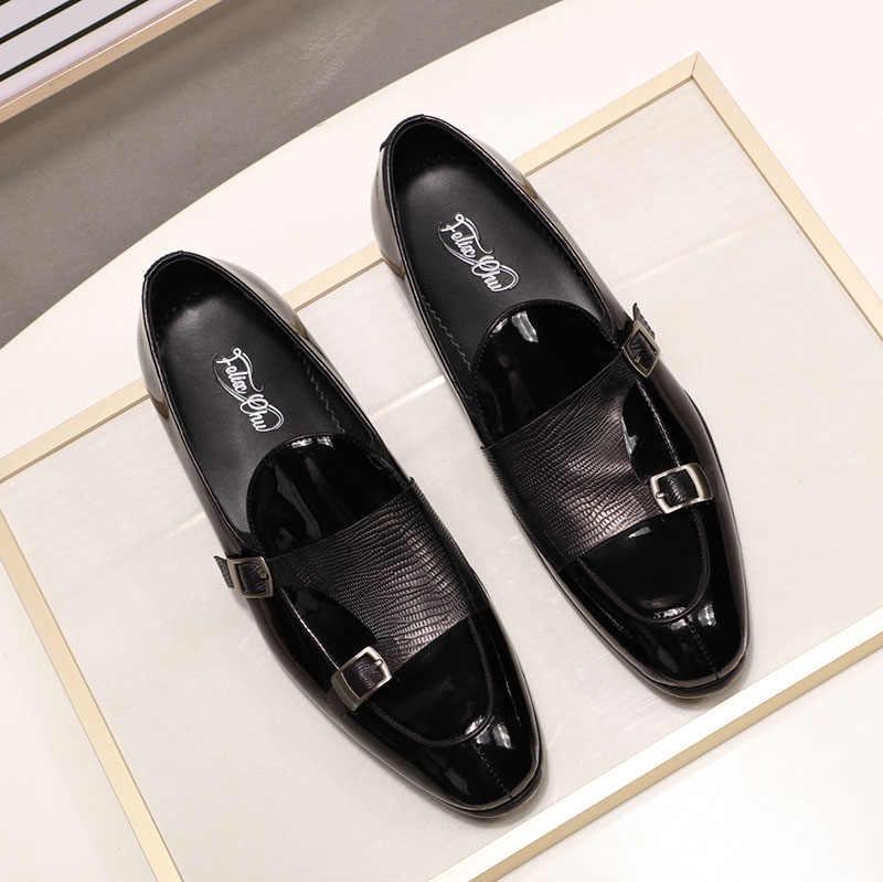 FELIX CHU/Брендовые мужские лоферы из лакированной кожи; модельные туфли для свадебной вечеринки; Цвет черный, зеленый; повседневные Модные мужские слипоны с ремешком