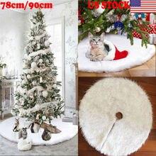 78 см 90 см Снежный плюш Рождественская елка юбка базовый Коврик покрытие Рождественские вечерние украшения