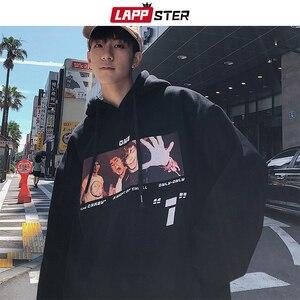 Image 1 - LAPPSTER Männer Casual Grafik Harajuku Sweatshirts Overzied Hoodies 2020 Herren Mit Kapuze Streetwear Hoodies Paar Schwarz Casual Hoodie