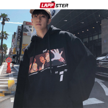 LAPPSTER Men Casual Graphic Harajuku Sweatshirts Overzied Hoodies 2020 Mens Streetwear Hooded Hoodies Couple Black Casual Hoodie