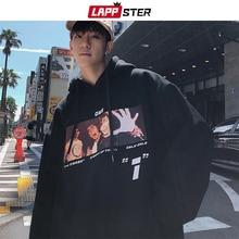 LAPPSTER erkekler Casual grafik Harajuku tişörtü Overzied Hoodies 2020 erkek Streetwear kapşonlu Hoodies çift siyah Casual Hoodie