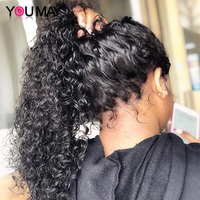 Full Lace Human Hair Wigs Fake Scalp Glueless Brazilian Deep Curly Transparent HD 30 Inch Full Lace Wig 250 Density Bob You May
