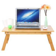 Mesa de ordenador portátil plegable de bambú, escritorio ajustable para ordenador, sofá cama, Notebook, soporte para PC, hogar y oficina