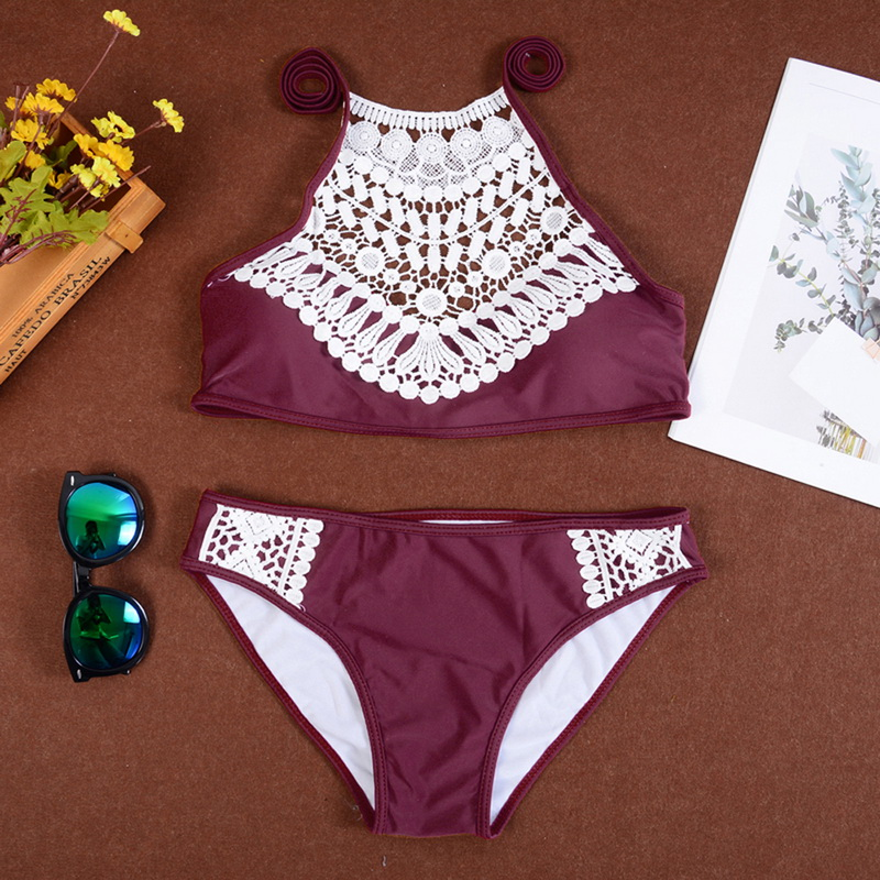 NEW Female 2019 Summer Push Up Swimwear Women Sexy Bikini Set Lace Halter Swimsuit Beachwear Bathing Suit Brazilian Biquinis-0