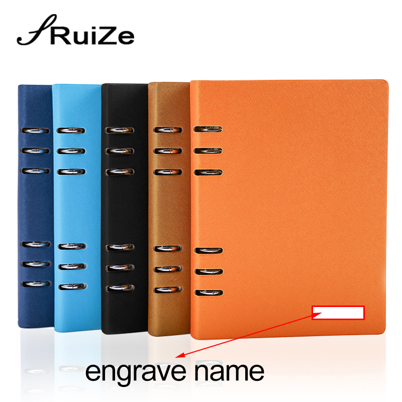 RuiZe Hard Cover A5 Leather Spiral Notebook Agenda 6 Ring Binder Daily Planner Organizer Office Note Book 2020 Engraved Name