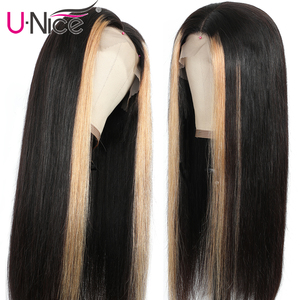 "Image 3 - Unice Hair 13x4 Highlight Lace Front Human Hair Wigs 8 24"" Brazilian straight Hair Wigs Human Hair Natural Wigs Free Shipping"