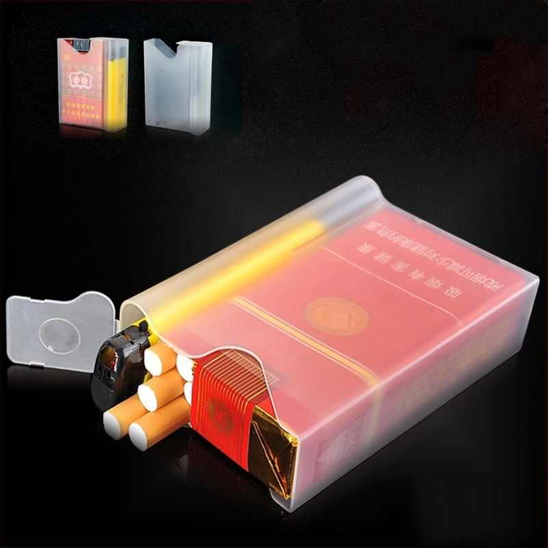 1 pièces boîte de étui à cigarettes en plastique Transparent Portable avec briquet à fumée