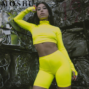 Image 4 - Tracksuit Women Turtleneck Zipper Long Sleeve Crop Top And High Waist Shorts Spring Sexy 2 pieces sets Fluorescence Fitness Suit