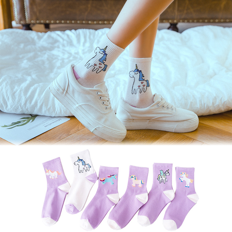 New Funny Socks Women Kawaii Cartoon Unicorn Patterned Socks Girls Personality Harajuku Cotton Breathable Sox