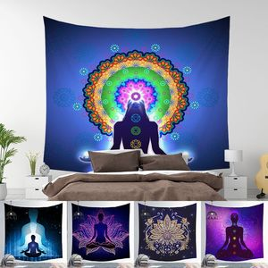 Image 2 - הודי בודהה פסל מדיטציה 7 צ אקרה קיר המנדלה שטיחי קיר בד פסיכדלי יוגה שטיח Boho דקור
