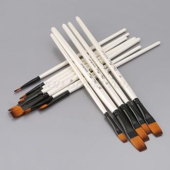 12 szt 12 szt zestaw pędzli artysty akwarela skośne płaskie okrągłe spiczaste końcówki pióra drewniany uchwyt tanie i dobre opinie CN (pochodzenie) NYLON Do malowania WOOD Pędzel do farb olejnych Gąbka na kijku 6 lat 20cm 5 Pcs 1 Set GUGUJI222 Wood Nylon