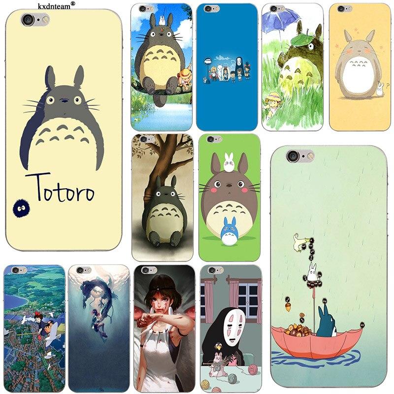 Cute Totoro Spirited Away Ghibli Miyazaki Anime Soft TPU Phone Case Cover for iPhone 8 7 6 6S Plus X 5 5S SE 5C 4 Shell Coque