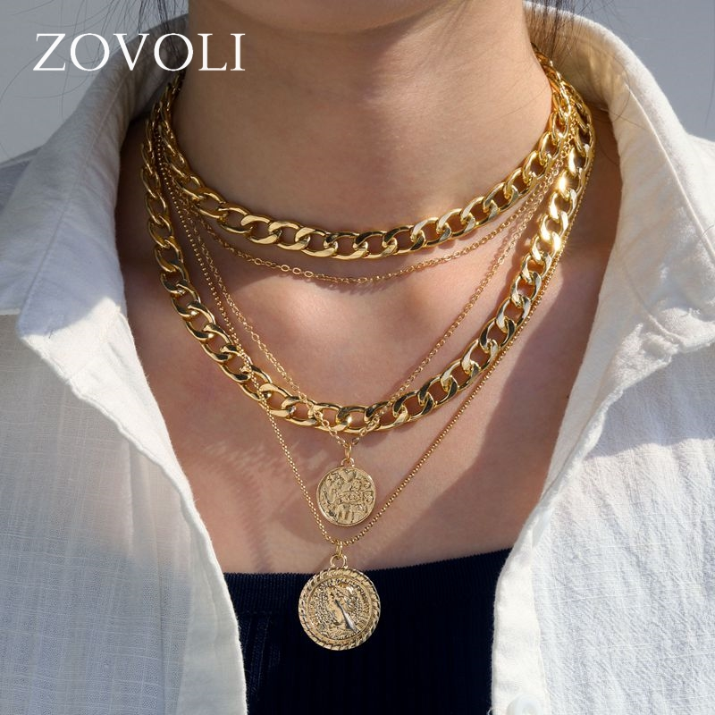 ZOVOLI Punk Vintage Layered Portrait Coin Pendan Necklace Set Chunky Thick Cuban Link Chains Choker Necklaces For Women Jewlery