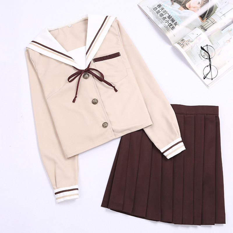 Japanese Student Suit Small Fresh Female College School Uniform Clothes Large Size Classic JK Sailor Cosplay Costume C50174A