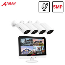 Anran 5mp 13 Polegada monitor dvr vigilância de vídeo sistema de câmera de segurança de áudio ao ar livre ahd cctv sistema de câmera dvr plug and play